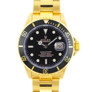 Pre-owned Rolex Men's Submariner Date 18K Gold Black Dial Watch