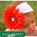 Headbandz Red/ Orange Daisy with Headband