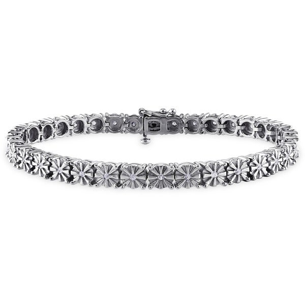 Haylee Jewels Sterling Silver 1/2ct TDW Diamond Tennis Bracelet (H-I, I3)