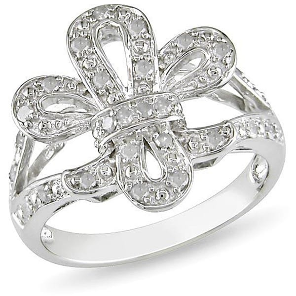 Haylee Jewels Sterling Silver 1/4ct TDW Diamond Ring (H-I, I3)