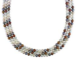 Miadora New York Pearls Multi-colored FW Pearl 100-inch Endless Necklace (6-6.5 mm)