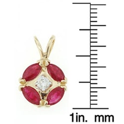 14k Yellow Gold Diamond Ruby Pendant