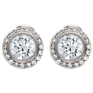 NEXTE Jewelry Silvertone Cubic Zirconia Large Cassion Stud Earrings