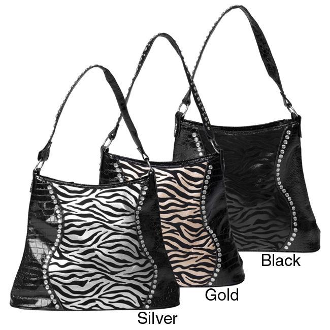 Sofia Bellini Women's Flocked Zebra Print Rhinestone Detail Tote Bag
