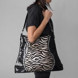 Sofia Bellini Women's Flocked Zebra Print Rhinestone Detail Tote Bag