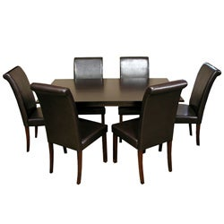 Warehouse of Tiffany Seven-Piece Black Oak Dining Furniture Set