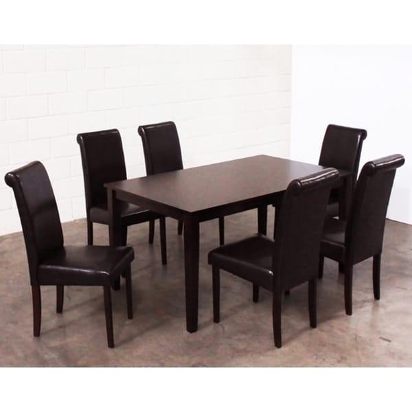Warehouse of Tiffany Seven-Piece Black Oak Dining Furniture Set