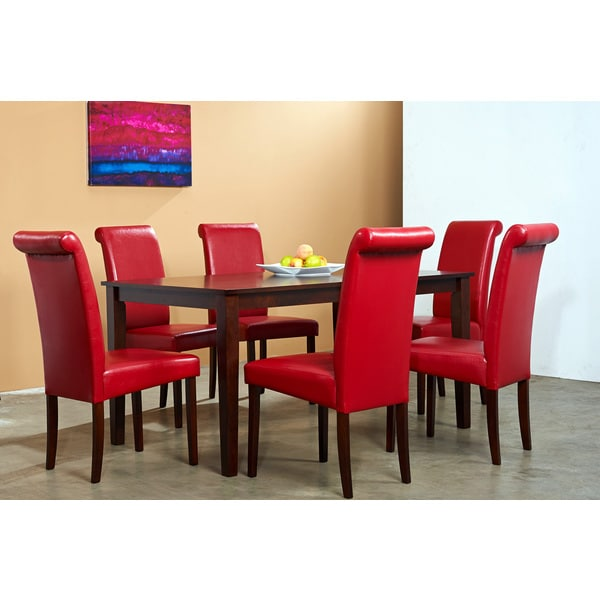 Warehouse of Tiffany 7-piece Red Dining Furniture Set