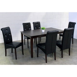 Warehouse of Tiffany Seven-Piece Black Bicast Leather Dining Furniture Set