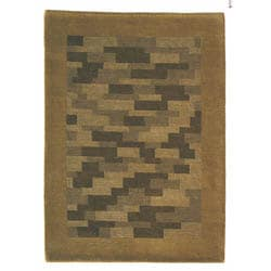 Hand-knotted Nule Green Wool Rug (4'6 x 6'6)