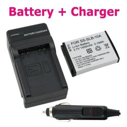 Compatible Li-ion Battery/ Compact Battery Charger for Samsung SLB-10A