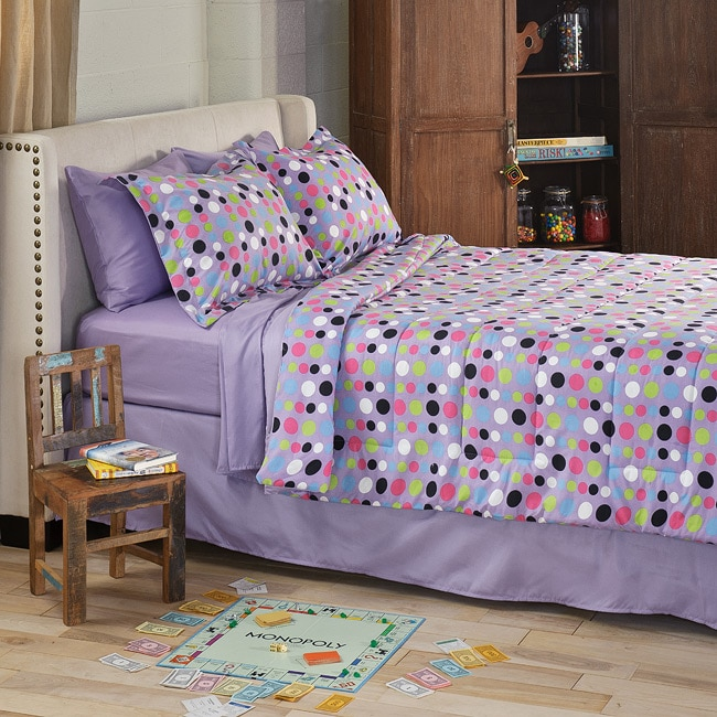 Dot Twin Xl Size 6 Piece Bed In A Bag With Sheet Set