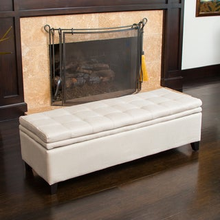 Christopher Knight Home Brighton Sand Linen Storage Ottoman