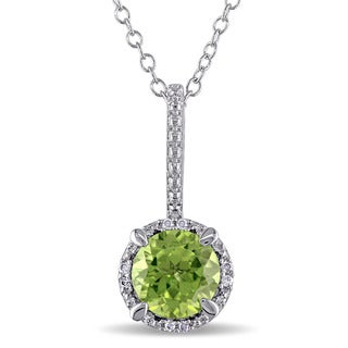 Miadora Sterling Silver Peridot and Diamond Accent Necklace (I-J, I3)