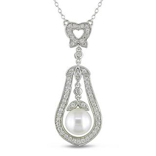 M by Miadora Sterling Silver Cubic Zirconia and Pearl Necklace (8.5-9 mm)