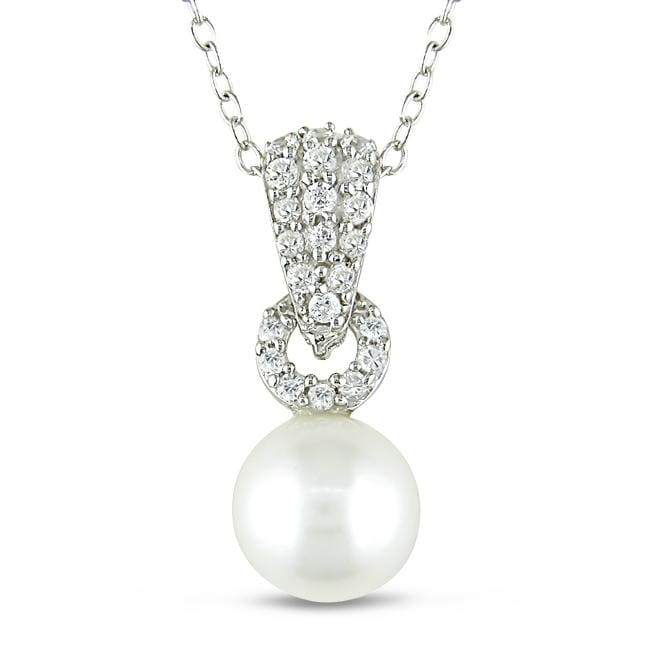 M by Miadora Silver Cubic Zirconia and Freshwater Pearl Necklace (8-8.5 mm)
