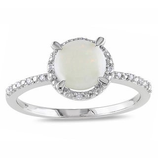 Miadora Sterling Silver Opal and Diamond Accent Ring
