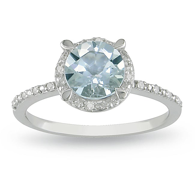 Miadora Sterling Silver Aquamarine and Diamond Accent Ring