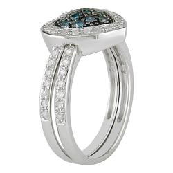 Miadora Sterling Silver 3/8ct TDW Blue and White Diamond Ring Set (G-H, I3)