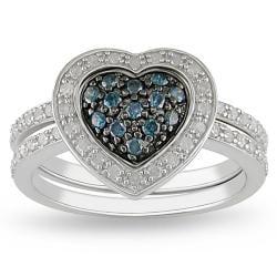 Miadora Sterling Silver 3/8ct TDW Blue and White Diamond Ring Set (G-H, I3)