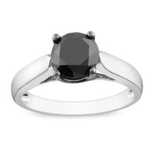 Miadora Sterling Silver 2ct TDW Black Diamond Solitaire Ring with Bonus Earrings