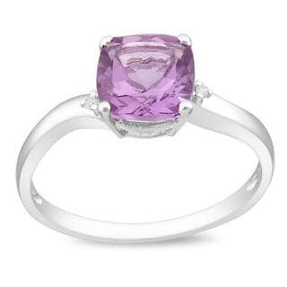 Miadora 10K White Gold Amethyst and Diamond Accent Ring (G-H, I2-I3)