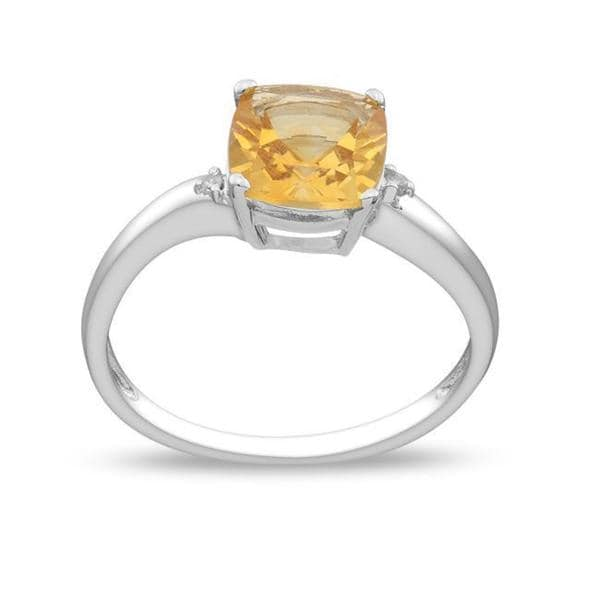 Miadora 10K White Gold Citrine and Diamond Accent Ring (G-H, I2-I3)