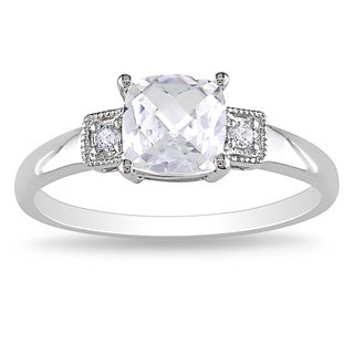 Miadora 10k White Gold Created White Sapphire and Diamond Accent Ring