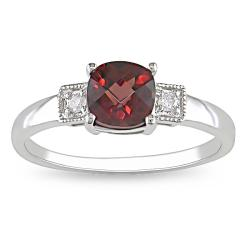 Miadora 10k White Gold Garnet and Diamond Accent Ring