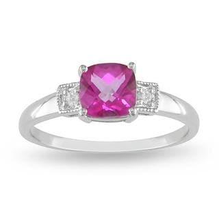 Miadora 10k White Gold Pink Topaz and Diamond Accent Ring