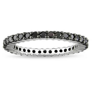 Miadora Sterling Silver 1ct TDW Black Diamond Eternity Ring with Bonus Earrings