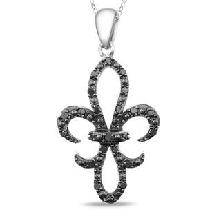 M by Miadora Sterling Silver 1/4ct TDW Black Diamond Fleur de Lis Necklace