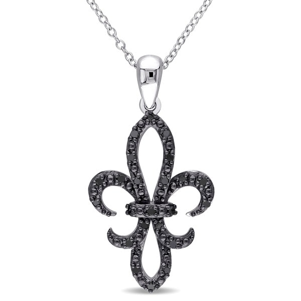 Miadora Sterling Silver 1/4ct TDW Black Diamond Fleur de Lis Necklace
