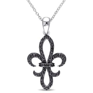 Miadora Sterling Silver 1/4ct TDW Black Diamond Fleur de Lis Necklace