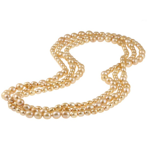 Miadora Brown Cultured Freshwater Pearl 80-inch Endless Necklace (6-10 mm) with Bonus Earri