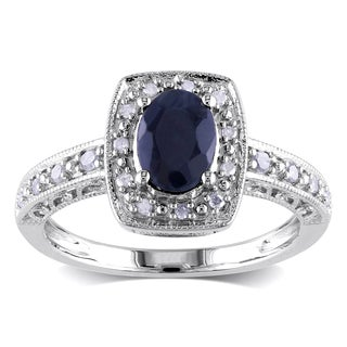 Miadora Sterling Silver Sapphire and 1/6ct TDW Diamond Ring (H-I, I3)