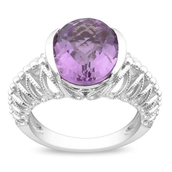 Miadora Gems Sterling Silver Purple Oval Amethyst Ring