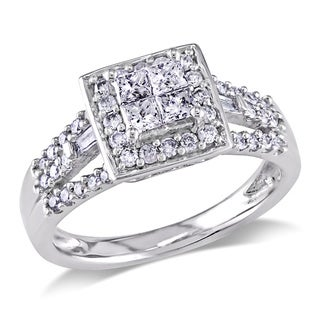 Miadora 10k White Gold 1/2ct TDW Diamond Halo Engagement Ring (G-H, I2-I3) with Bonus Earrings