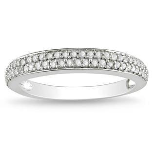Miadora 10k White Gold 1/4ct TDW Diamond wedding Band (G-H, I2-I3) with Bonus Earrings