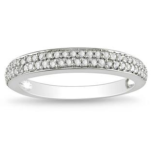Miadora 10k White Gold 1/4ct TDW Diamond wedding Band (G-H, I2-I3)