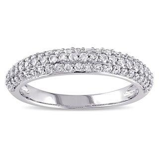 Miadora 10k White Gold 1/2ct TDW Pave Diamond Ring (G-H, I2-I3)