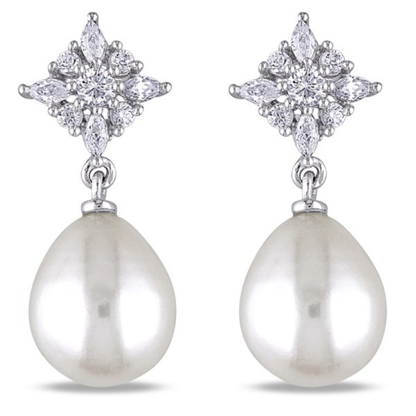 M by Miadora Sterling Silver Cubic Zirconia and White Pearl Earrings (9-9.5 mm)