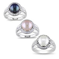 M by Miadora Sterling Silver Cubic Zirconia and Freshwater Pearl Ring (8.5-9 mm)