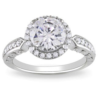 Miadora Sterling Silver Prong-set Cubic Zirconia Engagement Ring with Bonus Earrings