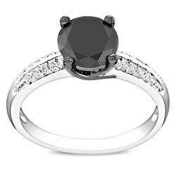 Miadora Sterling Silver Black Cubic Zirconia Engagement Ring