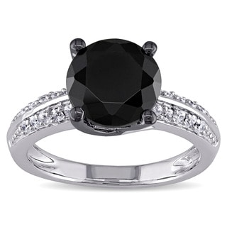 M by Miadora Sterling Silver Black Cubic Zirconia Engagement Ring