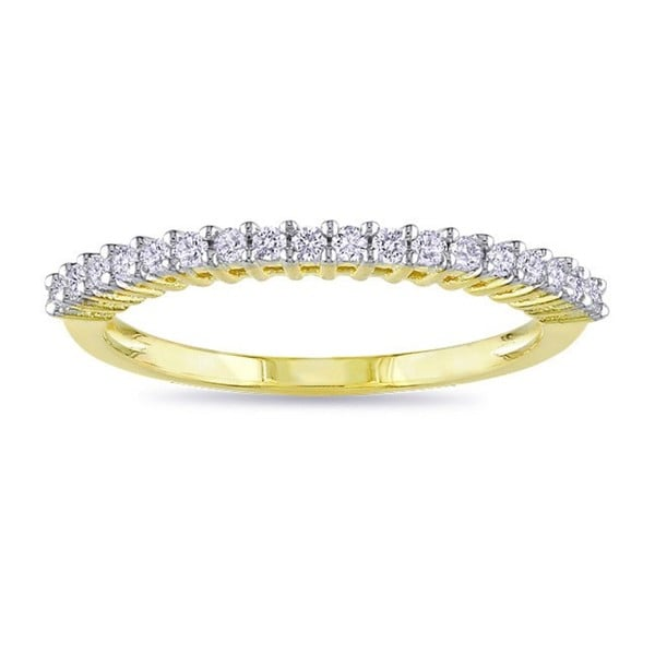 Haylee Jewels Yellow Plated 1/5ct TDW Diamond Wedding Band