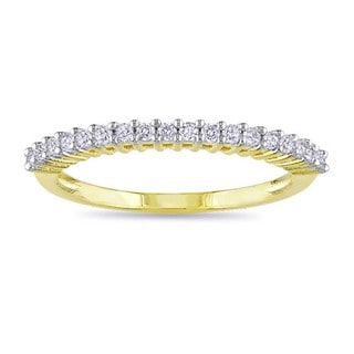 Miadora Yellow Rhodium Plating Over Silver 1/5ct TDW Diamond Anniversary Ring (H-I, I3)