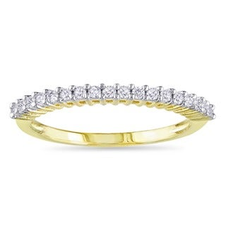 Miadora Yellow Plated 1/5ct TDW Diamond Wedding Band