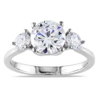 Miadora Sterling Silver Round-cut Prong-set Cubic Zirconia Engagement Ring with Bonus Earrings